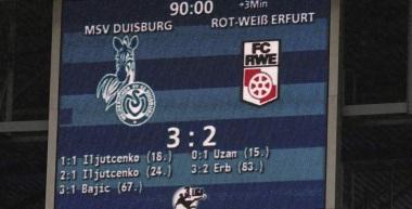 28. Spieltag MSV Duisburg - FC Rot-Weiß Erfurt 3:2