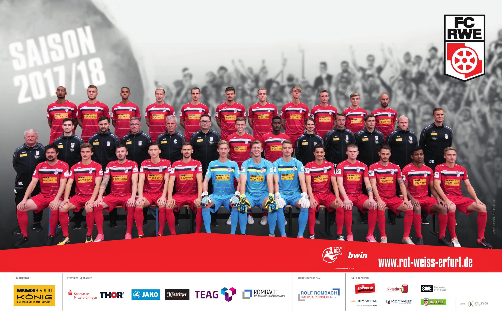 RWE-Team 2017/2018 mit Sponsoren